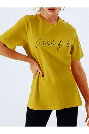 YOINS Yellow Letter Round Neck Short Sleeves Tee