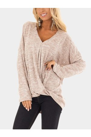 YOINS V Neck Long Sleeves Knot Hem T-shirt