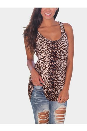 YOINS Leopard Print Tank Top with Curved Hem