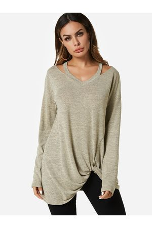 YOINS Apricot Knotted Long Sleeves T-shirt
