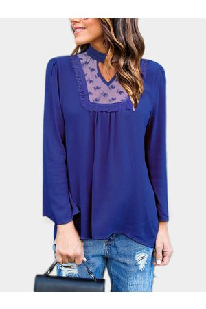YOINS Lace Insert Long Sleeves Top