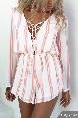 YOINS Long Sleeve Relaxed Bust Plunge Tie Up Detail Playsuit