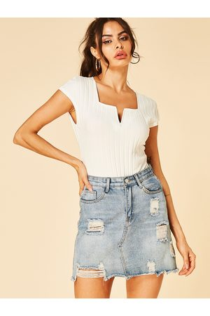 YOINS Knit Square Neck Short Sleeves Tee