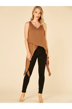 YOINS Coffee V-neck Split Design Irregular Hem Tank Top