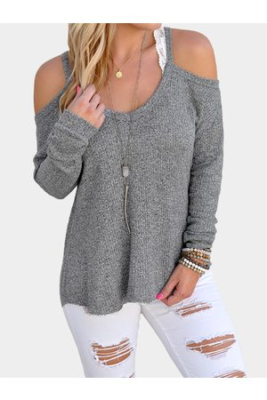 YOINS Casual Thin Shoulder Cold Shoulder Long Sleeve T-shirt