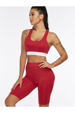 YOINS Plain Scoop Neck Sleeveless High-waisted Tracksuit
