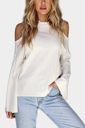 YOINS Cold Shoulder Long Flared Sleeves Casual Top