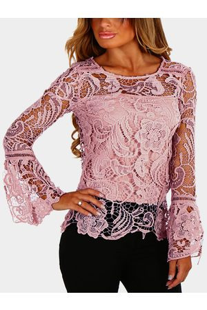 YOINS Pinkish-purple See-through Lace Details Round Neck Long Sleeves Sexy Top