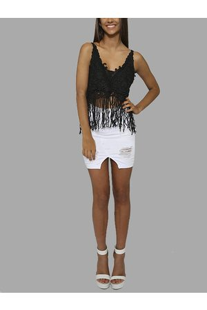 YOINS Sexy V-neck Hollow Out Tassel Top