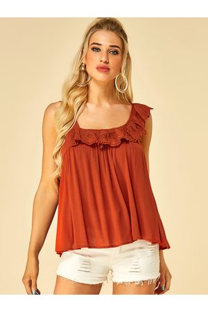 YOINS Brick Color Ruffle Trim Backless Knotted Vest