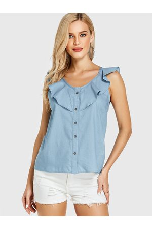 YOINS Light Ruffle Trim Round Neck Sleeveless Top