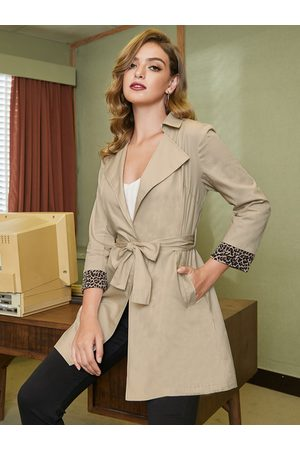 YOINS Women Trench Coats - Patch Leopard With Belt Trench Coat