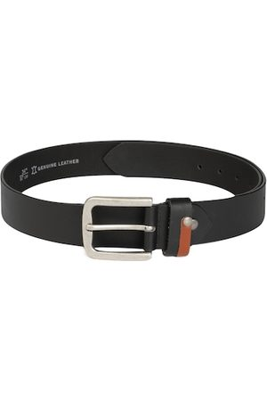 Roadster Men Black Solid Leather Belt