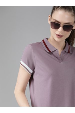 Roadster Women Mauve Solid Polo Collar T-shirt