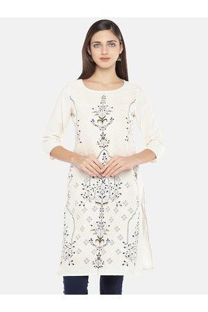 Globus Women White Printed Straight Kurta