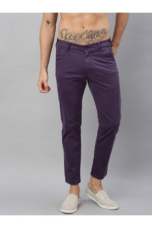 HERE&NOW Men Purple Slim Fit Solid Chinos