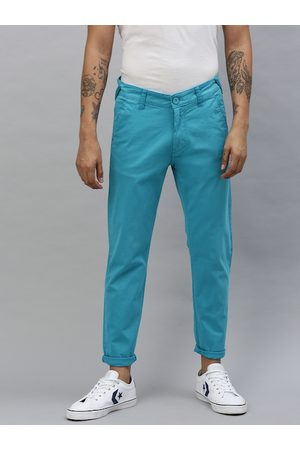 HERE&NOW Men Turquoise Blue Slim Fit Solid Chinos