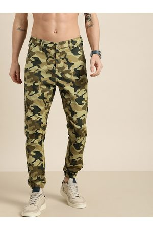 Moda Rapido Men Beige & Brown Regular Fit Camouflage acPrinted Joggers