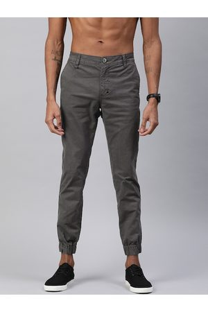 Roadster Men Charcoal Grey Regular Fit Solid Joggers
