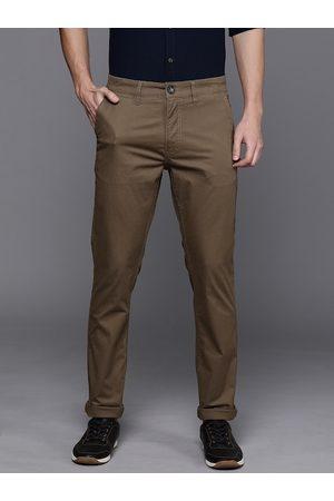 WROGN Men Brown Slim Fit Solid Chinos