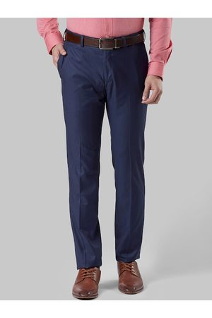 Raymond Weil Men Blue Slim Fit Solid Formal Trousers