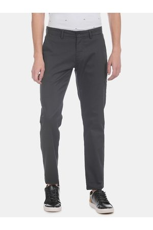 Flying Machine Men Charcoal Grey Super Slim Fit Checked Regular Trousers