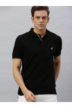 Nautica Men Short Sleeve - Men Black Solid Polo Collar T-shirt