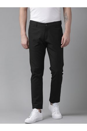 adidas Men Black Slim Tapered Leg Fit Self Design Regular Trousers