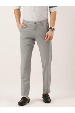 Flying Machine Men Grey Super Slim Fit Solid Regular Trousers