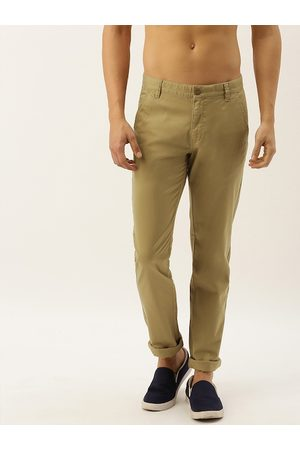 Flying Machine Men Khaki Slim Fit Solid Regular Trousers