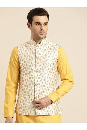 SOJANYA Men Jackets - Men Cream-Coloured & Golden Embroidered Nehru Jacket