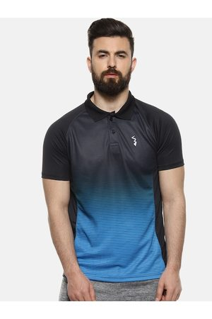 Campus Men Blue Colourblocked Polo Collar T-shirt