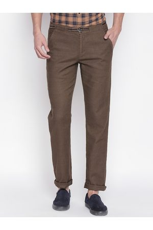 Urban Ranger by pantaloons Men Brown Slim Fit Solid Regular Trousers