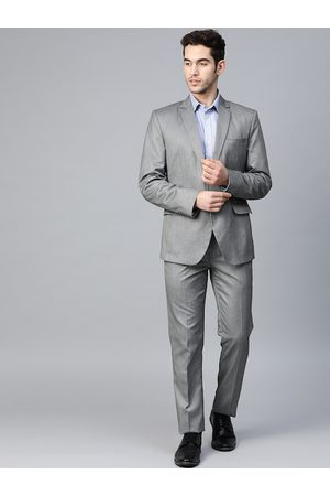 MANQ Men Grey Striped Slim-Fit Single-Breasted Formal Suit