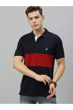 Nautica Men Navy Blue & Red Colourblocked Polo Collar T-shirt