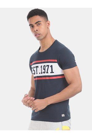 ED HARDY Men Navy Blue & White Printed Round Neck T-shirt