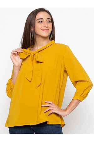 Globus Women Yellow Solid A-Line Top