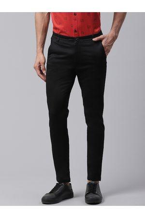 DENNISON Men Black Smart Skinny Fit Solid Chinos