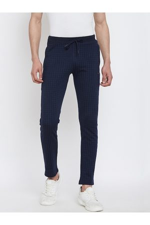 Okane Men Navy Blue Checked Slim-Fit Track Pants
