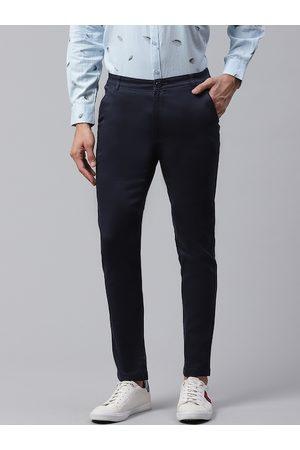 DENNISON Men Navy Blue Smart Skinny Fit Solid Chinos