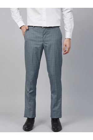 Blackberrys Men Blue Skinny Fit Checked Formal Trousers