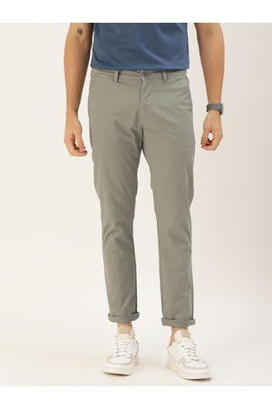 Ether Men Chinos - Men Grey Regular Fit Solid Chinos