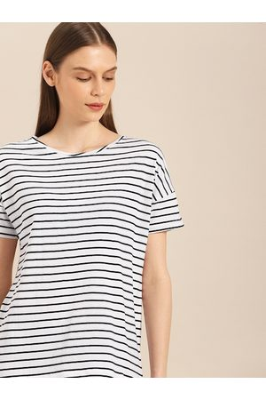 Ether Women White & Black Striped Round Neck T-shirt