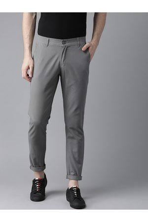 Hubberholme Men Grey Slim Fit Solid Regular Trousers