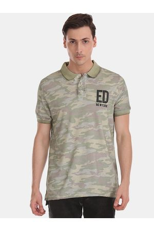 ED HARDY Men Green Camouflage Printed Polo Collar T-shirt