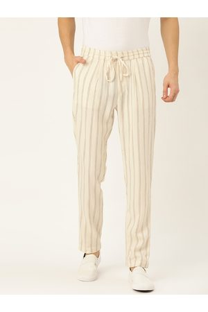 Ether Kora Collection Men Off-White Sustainable Unbleached Slim Striped Regular Sustainable Trousers