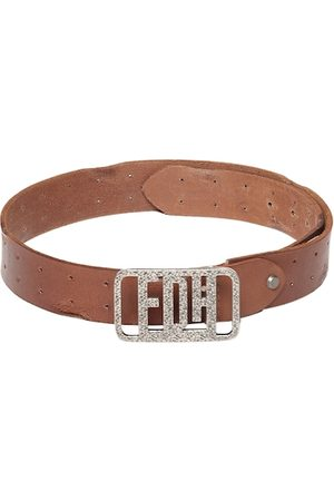 ED HARDY Men Tan Brown Textured Leather Belt