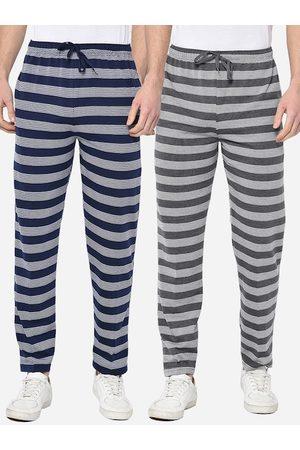 VIMAL JONNEY Men Pack Of 2 Striped Straight-Fit Track Pants
