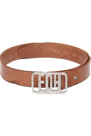Ed Hardy Men Tan Brown Textured Leather Belt