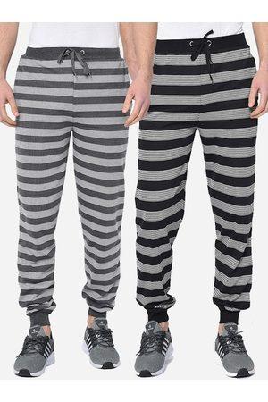 VIMAL JONNEY Men Pack of 2 Striped Straight-Fit Joggers